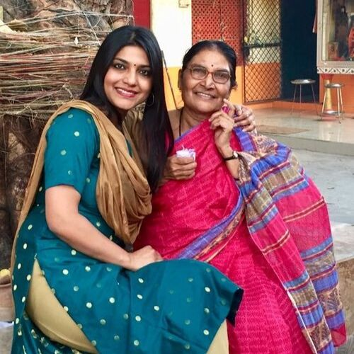 Aditi Avasthi (News Anchor) with mother