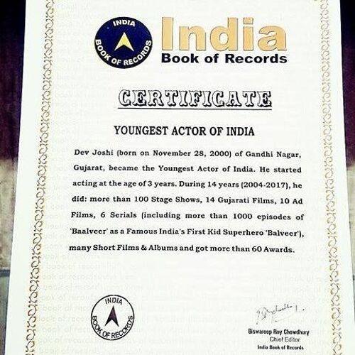 Dev Joshi (Actor) Award