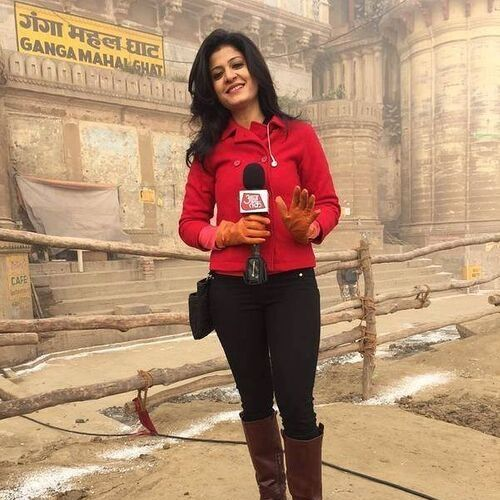 News anchor of Aaj Tak Channel (Anjana Om Kashyap)
