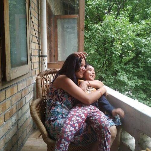 Sweta Srivastava (News Anchor) with Son