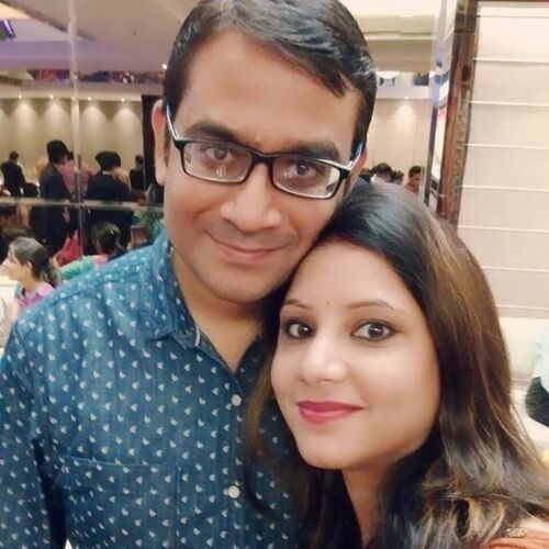 Sweta Srivastava (News Anchor) with Husband