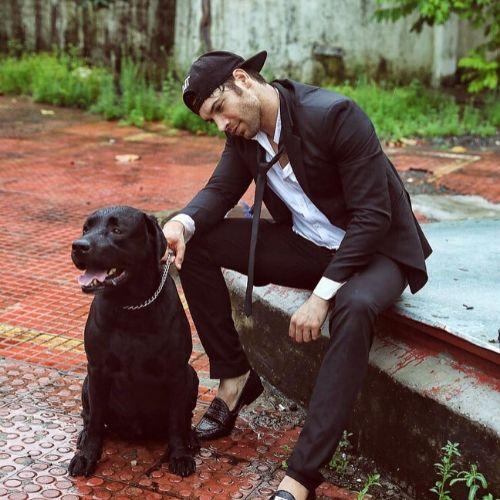 Vikas Verma with his pet dog