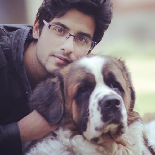 Abrar Qazi with dog