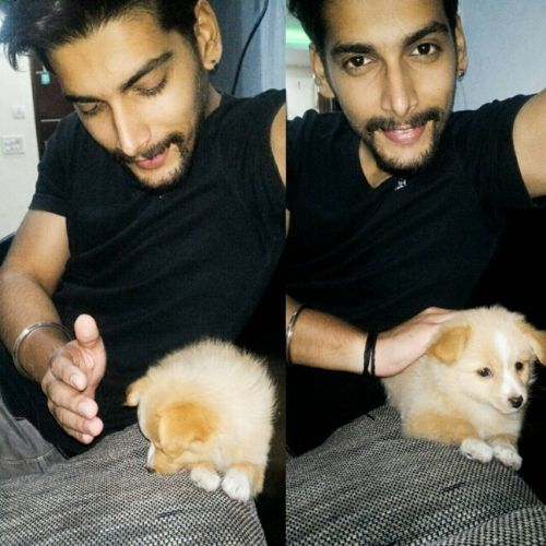 Akshit with his pet dog