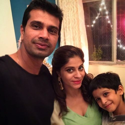 Shweta Mahadik with husband and son