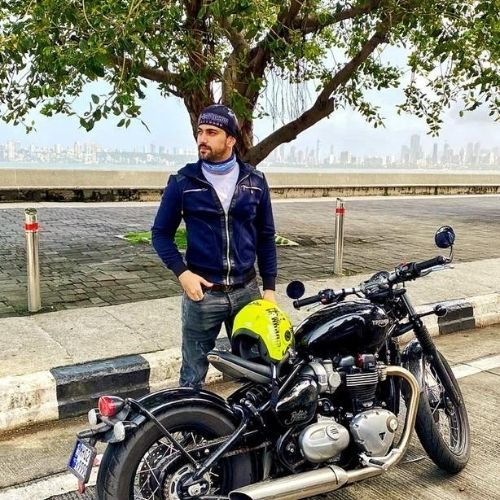 Zain with his Triumph Bonneville Bobber Bike