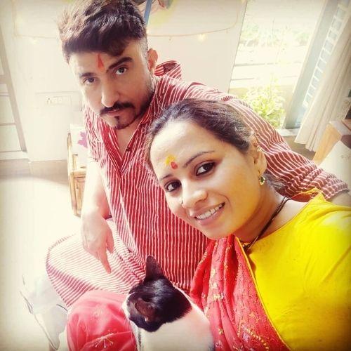Smita Tambe with Virendra Dwivedi (Husband)
